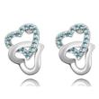 Swarovski kristályos fülbevaló Szívben Szív kék