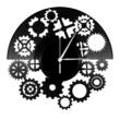Fogaskerekes dekor bakelit óra