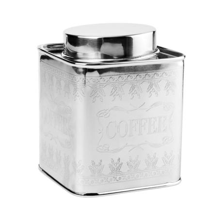 MISS SOPHIE rozsdamentes acél fém doboz ezüst - Kávé 14,5cm