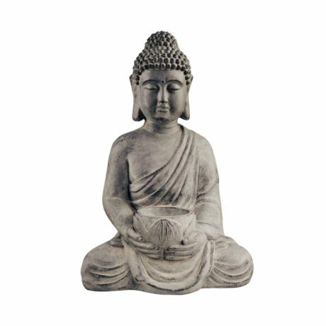 BUDDHA ülőszobor gyertyatartóval szürke 46cm