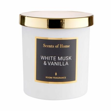 SCENTS OF HOME illatos gyertya üvegben - Fehér pézsma és Vanília