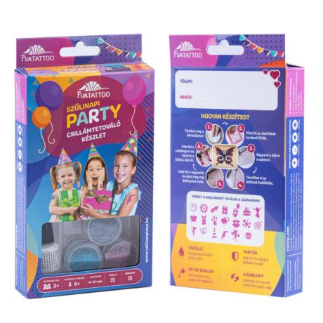Csillámtetováló szülinapi party szett