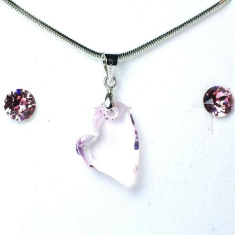 Aura rózsaszín Swarovski® kristályos ékszerszett - Ferde szív 17 mm, Roseline + díszdoboz