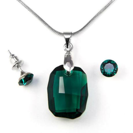 Aura zöld Swarovski® kristályos ékszerszett - Graphic 19 mm, Emerald + díszdoboz